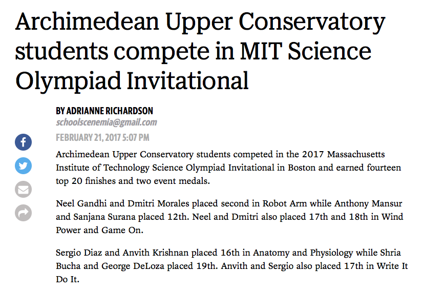 Archimedean Upper Conservatory Students Compete In Mit Science