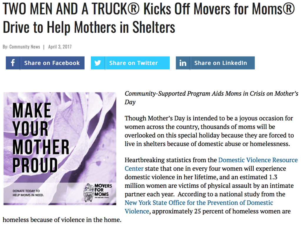 TWO MEN AND A TRUCK® Kicks Off Movers for Moms® Drive to Help ...